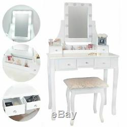 White Hollywood Dressing Table with Lights 5 Drawers Vanity Mirror Stool Makeup