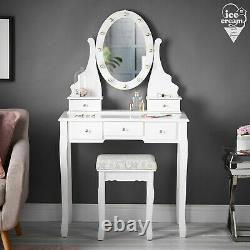 White LED Lights Vanity Set Dressing Table Makeup Mirror 5 Drawers and Stool