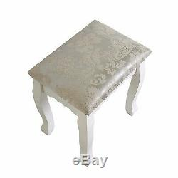 White Makeup Dressing Table Set with 3 Drawer, Mirror & Stool Wood Jewelry Desk