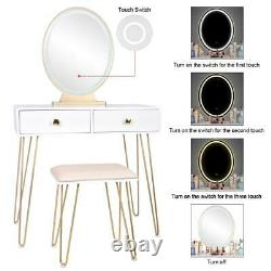 White Makeup Vanity Table Set Combo Dresser with Stool Touch Led Light 2 Drawers
