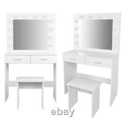 White Makeup Vanity Table Set with 12 Lights Mirror and 2 Drawers Dressing Stool