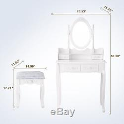 White Vanity Makeup Table Dressing Desk Set Wood with Stool, Mirror & 4 Drawers