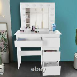 White Vanity Set With LED Lighted Mirror Cushioned Stool Dressing Makeup Table