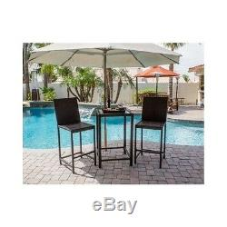 Wicker Dining Set Patio Outdoor 3 Piece Bistro Bar Height Stools Glass Top Table