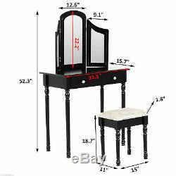 Wood Dressing Table Classic Vanity Set with Stool Makeup Mirror 2 Drawers