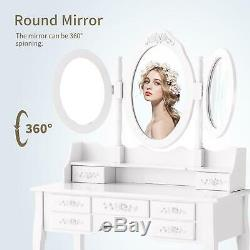 Wood White Vanity Makeup Dressing Table Set with Stool 7 Drawers &Folding Mirror