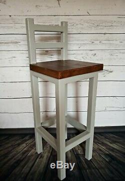 Wooden Bar Stool Breakfast Kitchen Bar High Chair Footrest Handmade