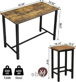 Wooden Bar Stools Dining Table Set Counter Height 4 pcs Chair Home Kitchen Desk
