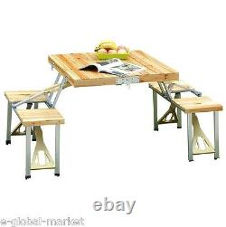 Wooden Picnic Table 4 Chair Set Portable Folding Wood Camping Garden Bench Stool