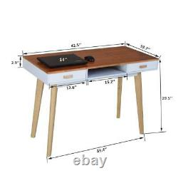 Wooden Study Desk Computer Desk Office Work Writing Desk Table with 2 Drawers