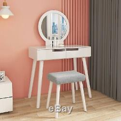 Wooden Vanity Makeup Dressing Table Stool Jewelry Organizer Desk withRound Mirror
