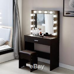 2020 New Vanity Set Avec Miroir Lighted Cushioned Tabouret Coiffeuse Chambre