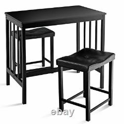 3 Pcs Moderne Counter Height Dining Set Table Et 2 Chaises Kitchen Bar Furniture