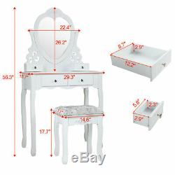 4 Tiroirs Maquillage Vanity Set Coiffeuse Miroir Withheart-forme, Tabouret Blanc