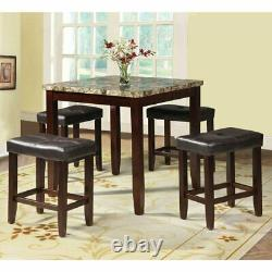5 Pc Espresso Counter Height Dining Pub Set Kitchen Faux Marble Table Bar Tabourets