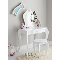 Amelia Wooden Vanity Set With Stool And Mirror Girls Dressing Table (blanc)