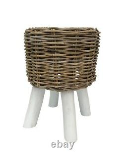 Boho Style Small Rattan Wicker Foot Stool Chair Seat Side Lamp Table Basse 46cm