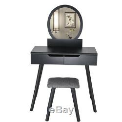 Coiffeuse De Vanity + 2 Tiroirs + Miroir Rond Tabouret Coiffeuse Vanity Maquillage