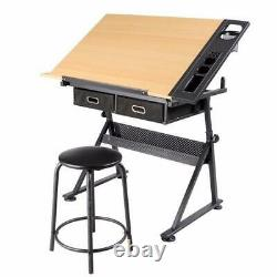 Dessin Drawing Table Desk Art And Craft Taille Réglable Avec Tabouret 2 Tiroirs