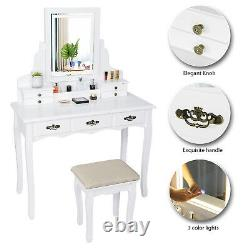 Dressing Makeup Table Stool 3 Modes Lighted Led Mirror Vanity Set With7 Drawers Us