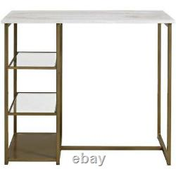 Faux Marble Small Dining Set 3 Pc Metal Storage Table Tabourets Kitchen Brass White