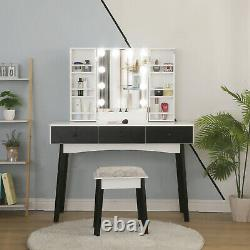 Femme Maquillage Dressing Table Lighted Mirror Home Vanity Set With Drawers & Stool