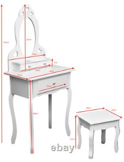 Filles White Wooden Make Up Dressing Table Crystal Knobs, Stool & Mirror 3-7years