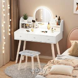Makeup Vanity Set Dressing Table Round Mirror With Led Light 3 Tiroirs Withstool