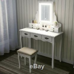 Maquillage Coiffeuse Vanity Set Led Miroir 7 Tiroirs Withpadded Tabouret Blanc