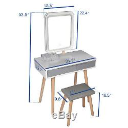 Maquillage Dressing Coiffeuse Tabouret Set Tiroirs Avec Led Mirror Touch Control