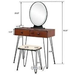 Nouveau Maquillage Vanity Table Stool Mobile Mirror Avec Touch Led Light 2 Tiroirs Brown