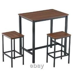Nouvelle Table De Bar 3 Pièces Set 2 Tabourets Industrial Style Height Dining Kitchen Brown