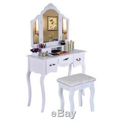 Set De Table Vanity Dressing + 5 Tiroirs + 3 Tabouret Miroirs Coiffeuse Vanity Us St
