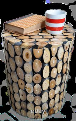 Table Ronde En Teck/tool/rustic Wood/hand Crafted/lamp Table/plant Stand