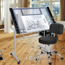 Tabouret Réglable Salon Hydraulique Chaise + Station Drafting Table Craft Withglass Top