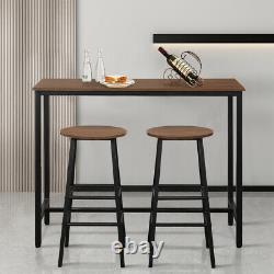 Topbuy 3 Pcs Pub Bar Table Set Kitchen Counter Table Set With 2 Stools Brown