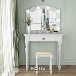 Tribesigns Blanc Vanity Set Avec Lighted Miroir, Maquillage Coiffeuse + Tabouret