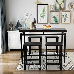 Us 5 Piece Set Pub Table Bar Stools Dining Furniture Counter Height Chairs Brown