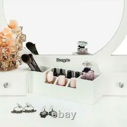 Vanity Dressing Table & Stool Set Makeup Dresser Desk With Round Mirror Drawer