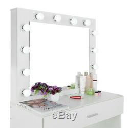 Vanity Set Avec 12 Led Miroir Lighted Cushioned Tabouret Coiffeuse Maquillage Table
