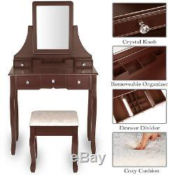 Vanity Set Maquillage Coiffeuse W Amovible Bureau Miroir Cushioned Tabouret Brown