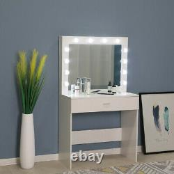 Vanity Set Withled Miroir Lighted Cushioned Tabouret Coiffeuse Maquillage Table