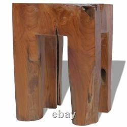 Vidaxl Solid Teak Wood Stool Chair Side Accent Table Plant Flower Stand Resin